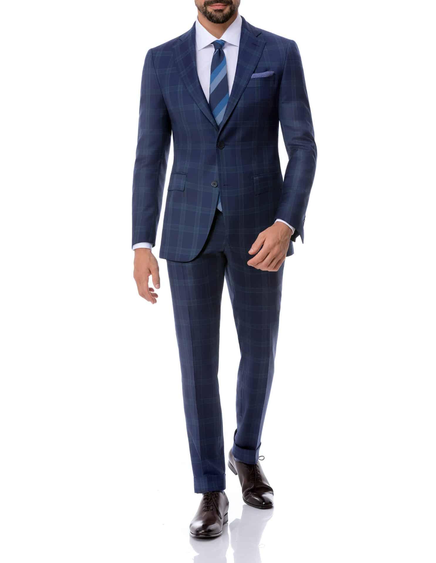 Business-Anzug blau kariert